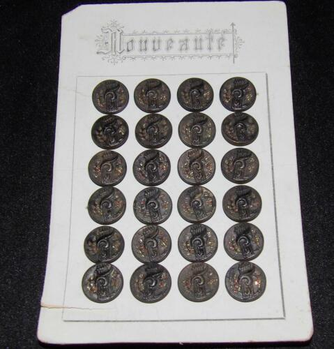 24 ORIG ANTIQUE VICTORIAN 1880 FRENCH STEEL METAL MUSIC THEME DRESS BUTTONS CARD