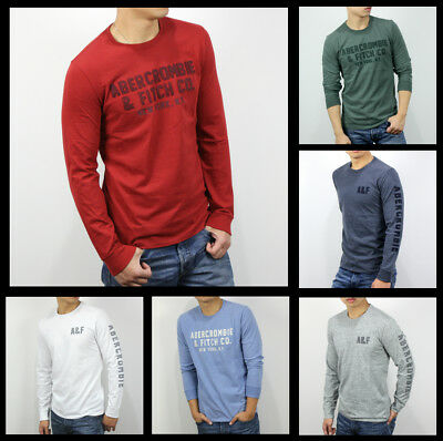 New Abercrombie Fitch A F By Hollister Men Applique Graphic Long Sleeve Tee