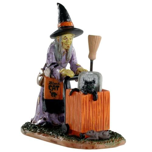 Lemax Spooky Town Halloween Village Shopping For  02911 Witch Black Cat Cart