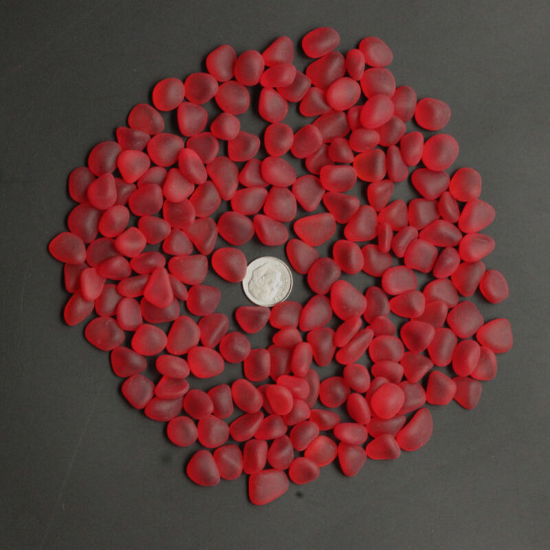 red ruby-like sea beach glass 20 pieces lots 12-16 mm jewelry use