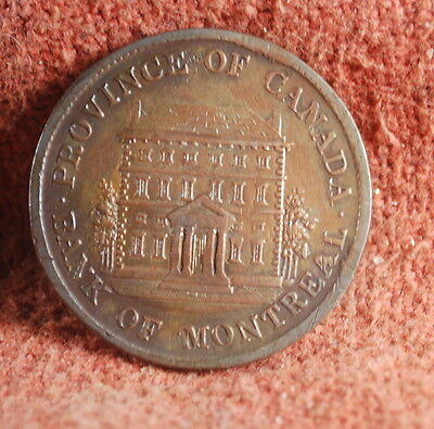 1844 Bank Of Montreal Nicely Toned Uncirculated Canadian 1 2 Penny Token
