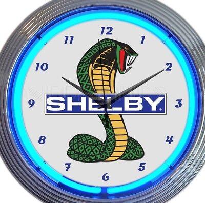 Ford Shelby Cobra Car Pair New Neon Clock 15 Inch Set 2 Man Cave Office (Cobra Neon Wall Clock)