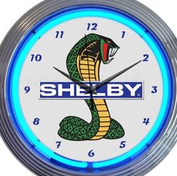 Ford Shelby Cobra Car Pair New Neon Clock 15 Inch Set 2 Man Cave Office Garage