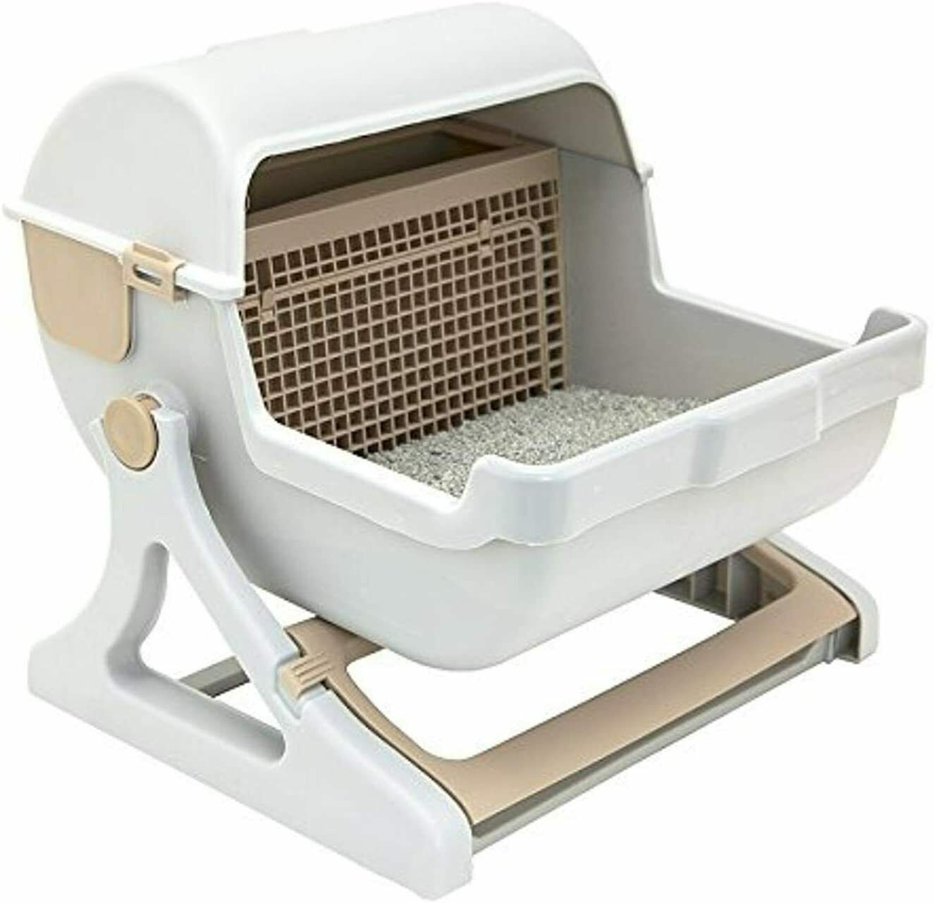 Pet Semi Automatic Cleaning Cat Litter Box Quick Luxury Toilet Kitty Scoop Pan - $55.49