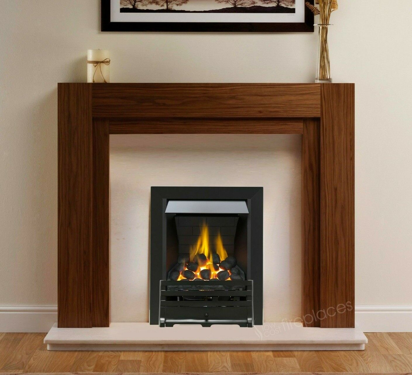 Gas Walnut Oak Surround Cream Marble Modern Black Fire Fireplace Suite Large 54 Ebay