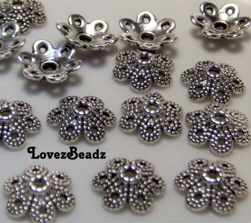 JEWELRY WHOLESALE LOT OF 25 SILVER TONE FLOWER DETAILED BEAD CAPS-9.5MM