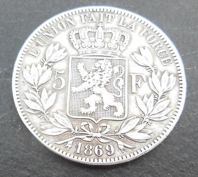 1869  Très rare pièce de 5 francs Léopold 2 en argent SANS SIGNATURE
