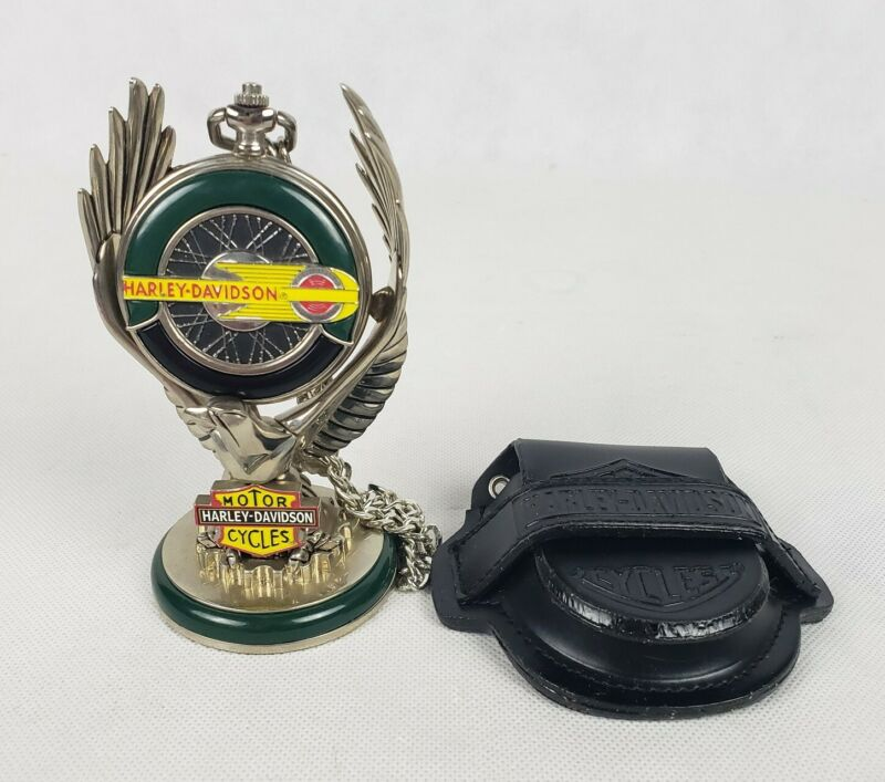 """HARLEY DAVIDSON POCKET WATCH """"KNUCKLEHEAD"""" FRANKLIN MINT w/STAND AND CASE"""