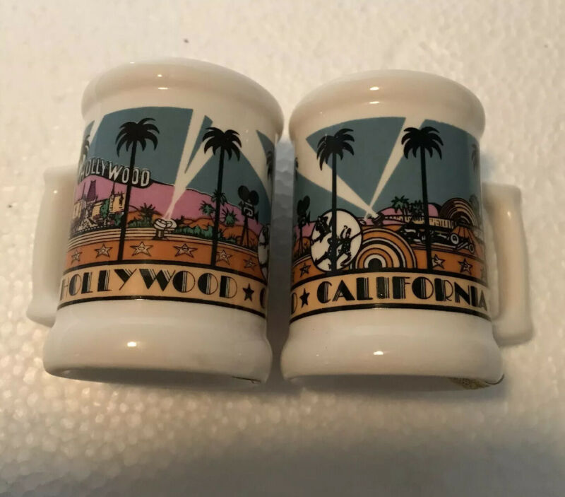 Vintage 1984 Ceramic Hollywood California Mug Salt Pepper Shakers Karol Western