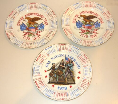 3 LOT - Vintage Spencer Gifts US Bicentennial 1776-1976 Calendar Collector Plate