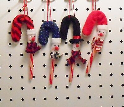 SNOWMAN CANDY CANE COVER ORNAMENTS - CANES INCLUDED - SET OF 12 - 4 STYLES Candy Cane Cover Ornaments