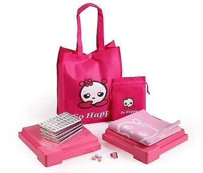 So Happy 144 Tile Chinese Pink Mahjong Set with Bag and Gaming Mat