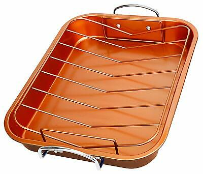 Aluminum Non Stick Roaster - New Non-Stick Copper Ceramic Turkey Roaster Pan W/ Removable Rack