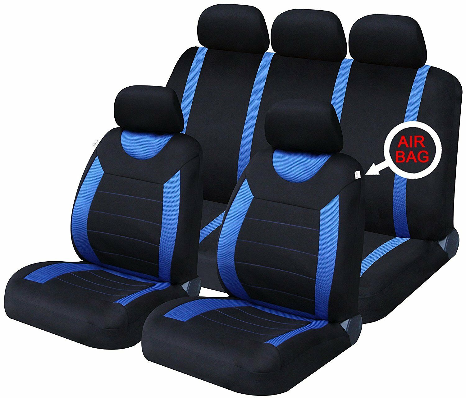 Universal Car Seat Covers Full Set Sporty Blue/Black Washable Airbag Compatible