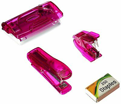 Mini Office Set W Stapler Staples Staple Remover 2 Hole Punch