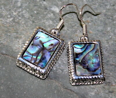 SILVER Vintage Style Abalone Shell Rectangular Earrings WP13712 Abalone Shell Silver Earrings