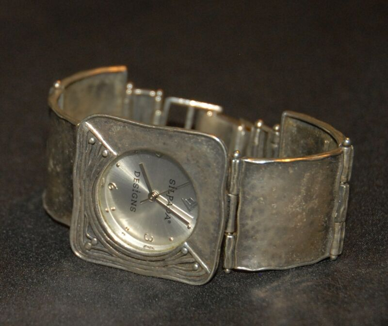 SILPADA - T1372 - Square Link, Hammered Sterling Silver Watch - RET