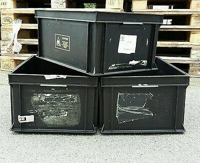 3 Stapelkisten 60x40x28 cm RAKO 2 Aufbewahrungs-Kiste schwarz Kunststoff