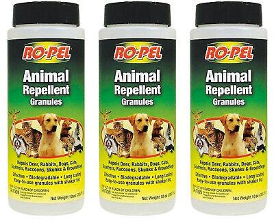 3 PACK Ropel Animal Repellent Granules Natural Dog Cat raccoon Skunk 10 Oz