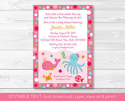 Pink Under the Sea Printable Baby Shower Invitation Editable - Under The Sea Baby Shower Invites