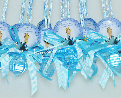 Baby Shower Deco (12 PC Pacifier BABY SHOWER PARTY FAVORS NECKLACE Prince WITH CROWN Blue Boy)
