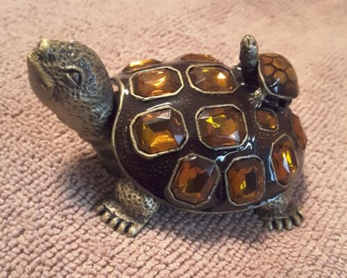 TURTLES  AMPHIBIANS REPTILE JEWELED ENAMEL SPOONTIQUE TRINKET BOX  CRYSTALS