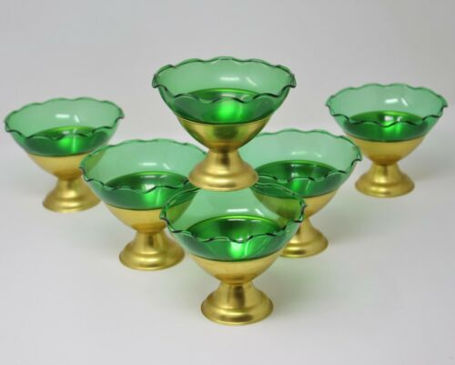 Heller Colorama 6 Anodized Aluminum Dessert Sherbet Cups Green Glass Gold Cups