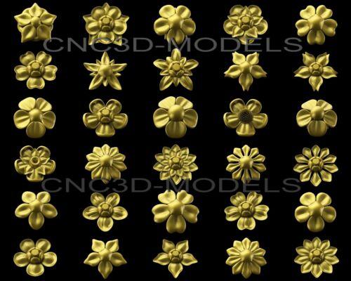 3D Model STL for CNC Router Carving Artcam Aspire Flowers Rosete Decor 7051
