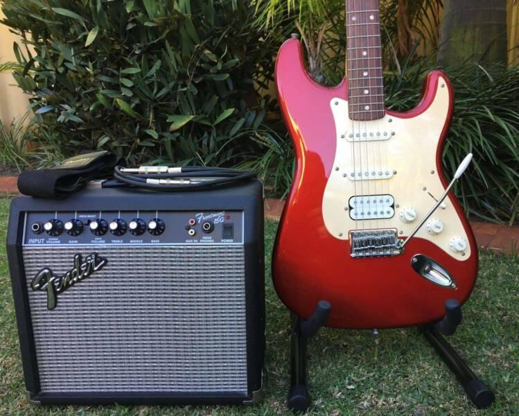 Fender Squier HSS Affinity Strat Guitar, 15 Watt Fender Amp