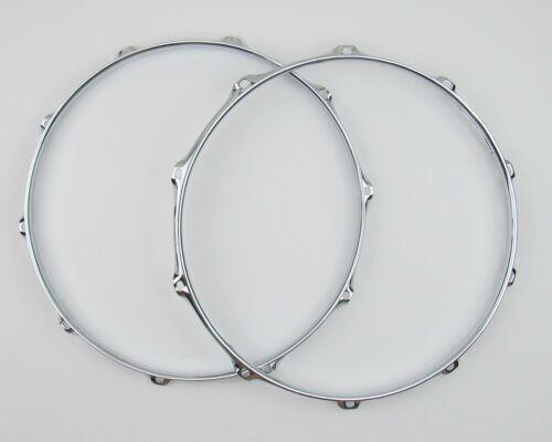 """2 NEW 14"""" Snare Drum Hoops 10 Lug 2.3mm Chrome 1 Batter 1 Snare Triple Flange"""