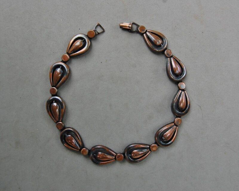 Copper Necklace Choker Mid Century Modern Vintage Repousse Black Lacquer Heavy