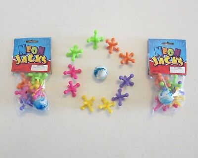 2 SETS OF NEW LARGE SIZE NEON JACKS AND RUBBER BOUNCE BALL GAME CLASSIC KIDS - Ball And Jacks Set
