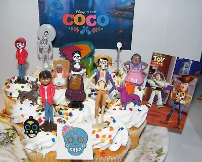 Disney Coco Movie Cake Toppers Set Of 15 With Figures  Charm  Tattoo And Spirit
