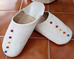 MOROCCAN  SOFT LEATHER SLIPPERS * 8/42* WHITE