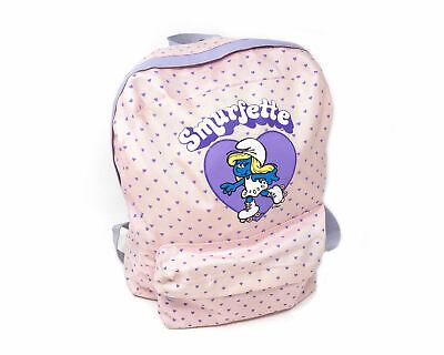 Vintage Smurfette Backpack 80s The Smurfs Pink Book Bag Mini Festival - $59.99