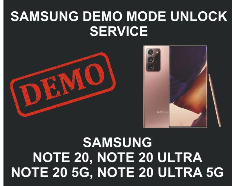 Samsung Demo Mode Unlock, Remove Service, Note 20, Note 20 Ultra, 5G