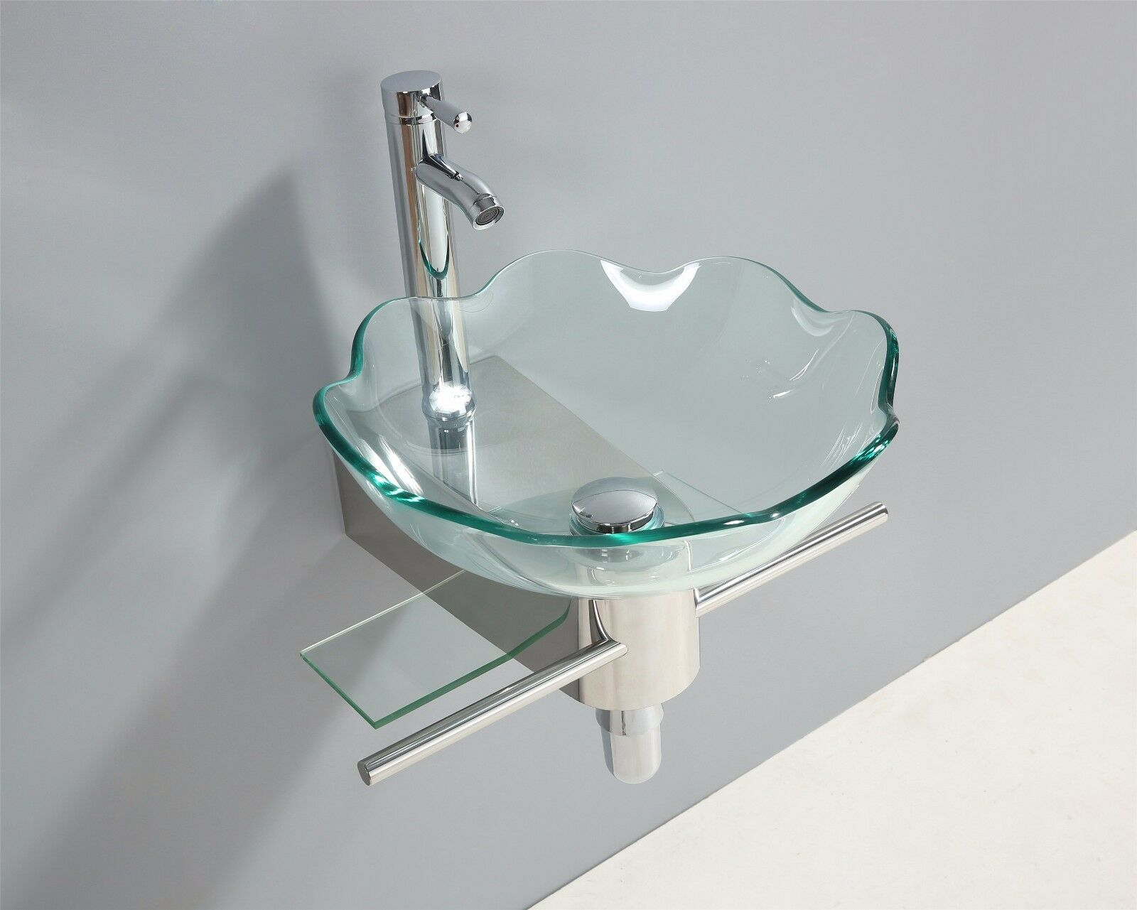 Glaswaschtisch Waschtisch Glasbecken Badmöbel Edelstahl