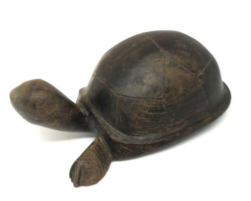 """Vintage Wood Carved Turtle Figurine Sculpture MId Century (?) -4"""" long"""