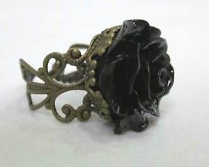 Antique Bronze Style Lace Filigree Black Rose Flower Ring- Steampunk Gothic Goth
