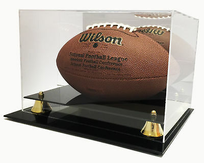 Deluxe UV Full Size Football Display Case Holder with Mirror -