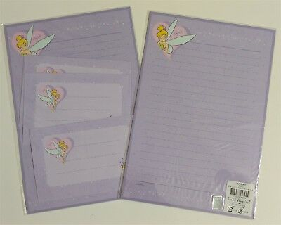 Disney Fairy Tinkerbell Stationery Envelop Stationary Lined Letter Set Lavender