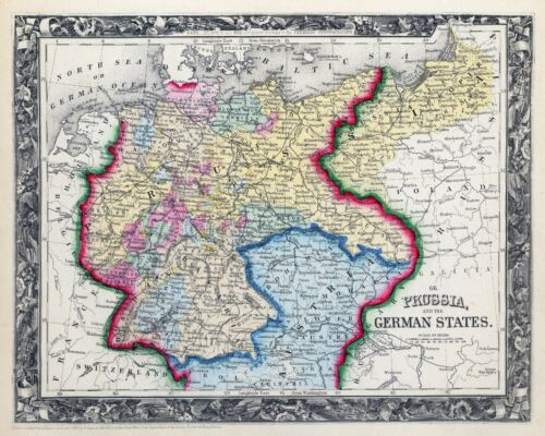 1860 ornate map PRUSSIA GERMAN EMPIRE Augustus Mitchell, Jr. POSTER 0565037
