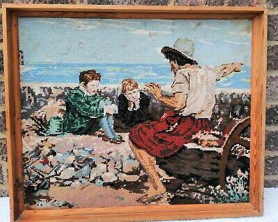 Vintage The Boyhood of Raleigh Tapestry Wood Frame 48 cm x 49 cm