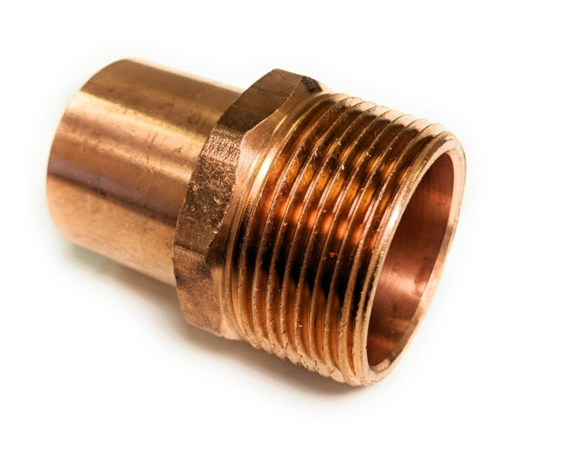 """Wrot Copper 1/2"""" Solder X 1/2"""" Fitting Male Reducing Street Adapter 5 Pack"""