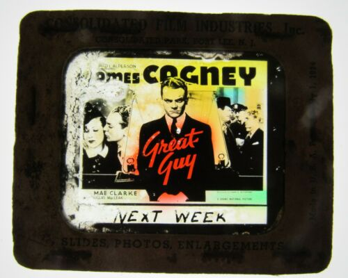 Movie Glass Slide- 1936 James Cagney in Great Guy!