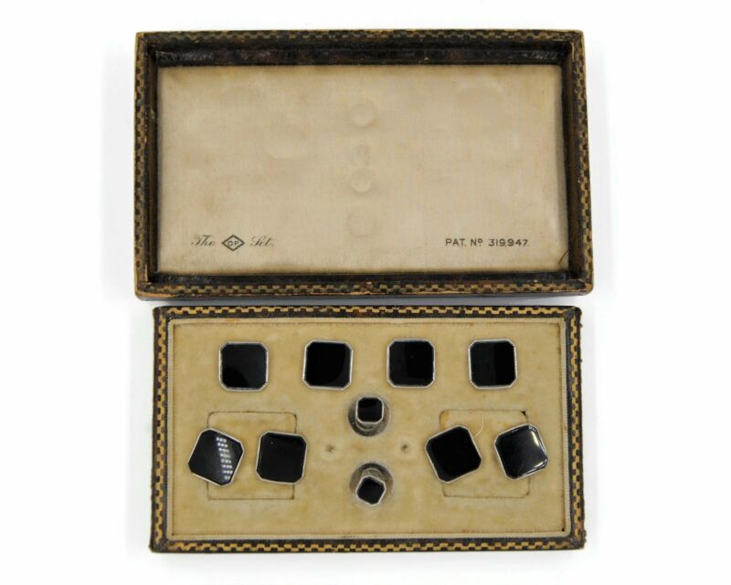 Art Deco Boxed Sterling Silver Tuxedo Dress Set Of Cufflinks, Studs and Buttons