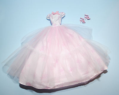 DREAMY! Pale Pink Gown w Full Gauzy Skirt & Heels Genuine BARBIE Fashion Clothes