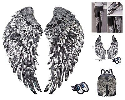 (Silver Sequins Angel Wings Iron On Patch DIY Embroidered Cloth Decoration )