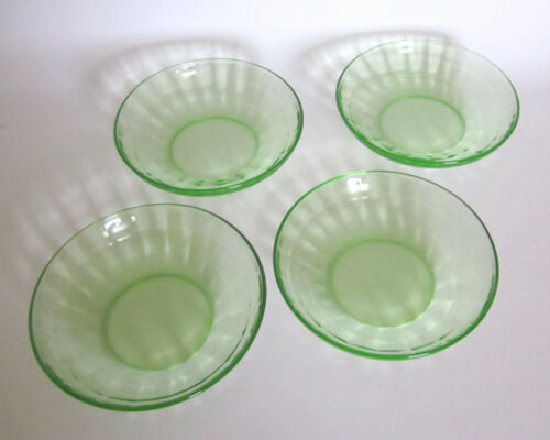 BLOCK OPTIC HOCKING Glass Green Depression Cereal Bowls Set of 4 1929-1933