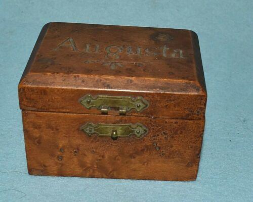 Burl Wood Trinket Box, Carved Augusta,  Antique